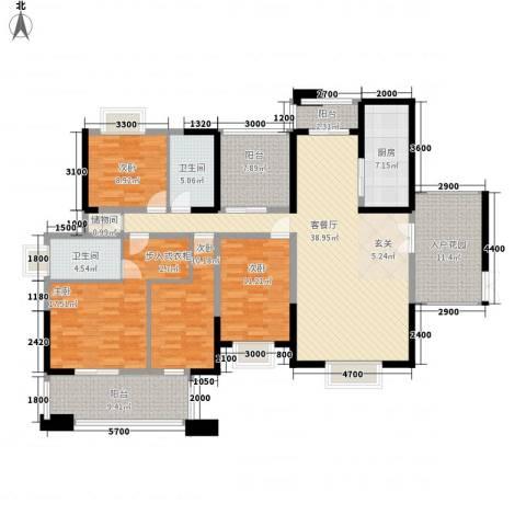 兰桥圣菲项目4室1厅2卫1厨195.00㎡户型图