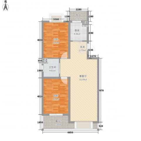 澜山溪谷2室1厅1卫1厨97.00㎡户型图