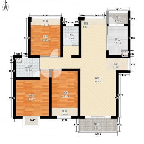 无锡海岸城3室1厅2卫1厨126.00㎡户型图