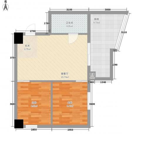 银河国际2室1厅1卫1厨78.00㎡户型图
