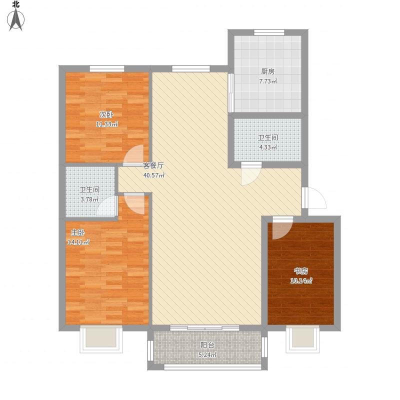 派胜世茂城A户型3室面积123.00