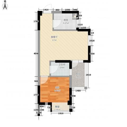 大儒世家绿园1室1厅1卫1厨34.18㎡户型图
