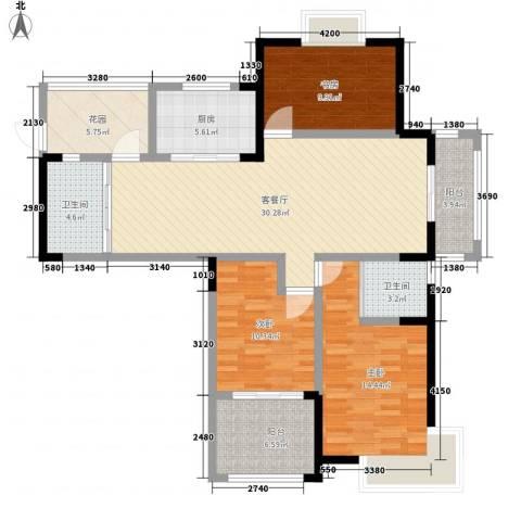 都市桃源3室1厅2卫1厨138.00㎡户型图