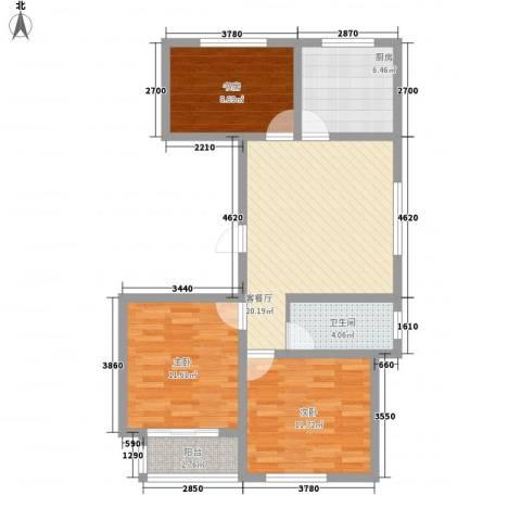 润地凤凰城3室1厅1卫1厨95.00㎡户型图