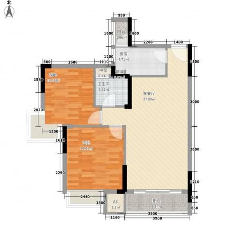 长城世家二期2室1厅1卫1厨79.00㎡户型图