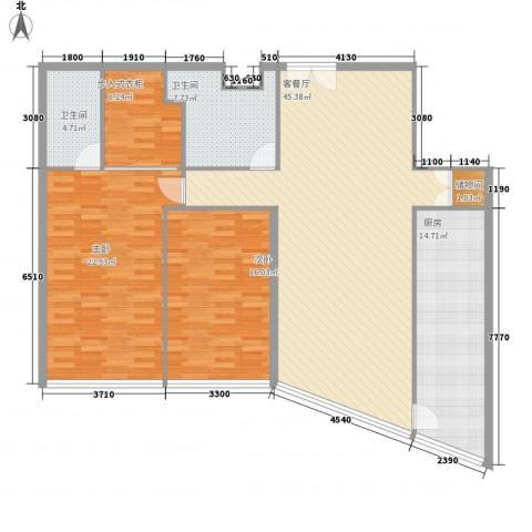 北京财富中心二期2室1厅2卫1厨162.00㎡户型图
