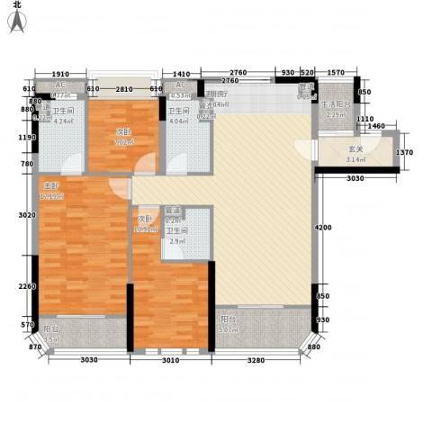 碧桂园金海湾3室1厅3卫0厨113.00㎡户型图