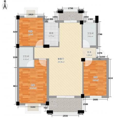 名仕紫金花园3室1厅2卫1厨112.00㎡户型图