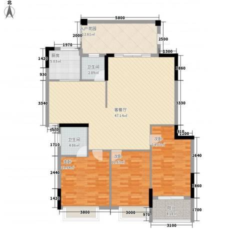 星汇国际3室1厅2卫1厨160.00㎡户型图