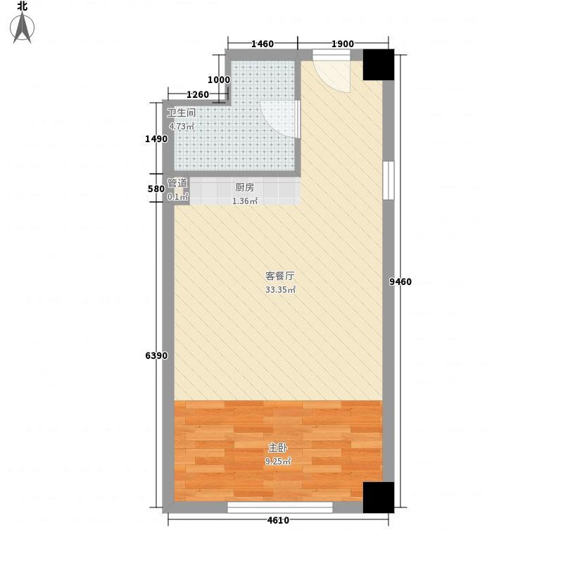 兴泰御都53.00㎡兴泰御都户型图H2户型1室1厅1卫1厨户型1室1厅1卫1厨