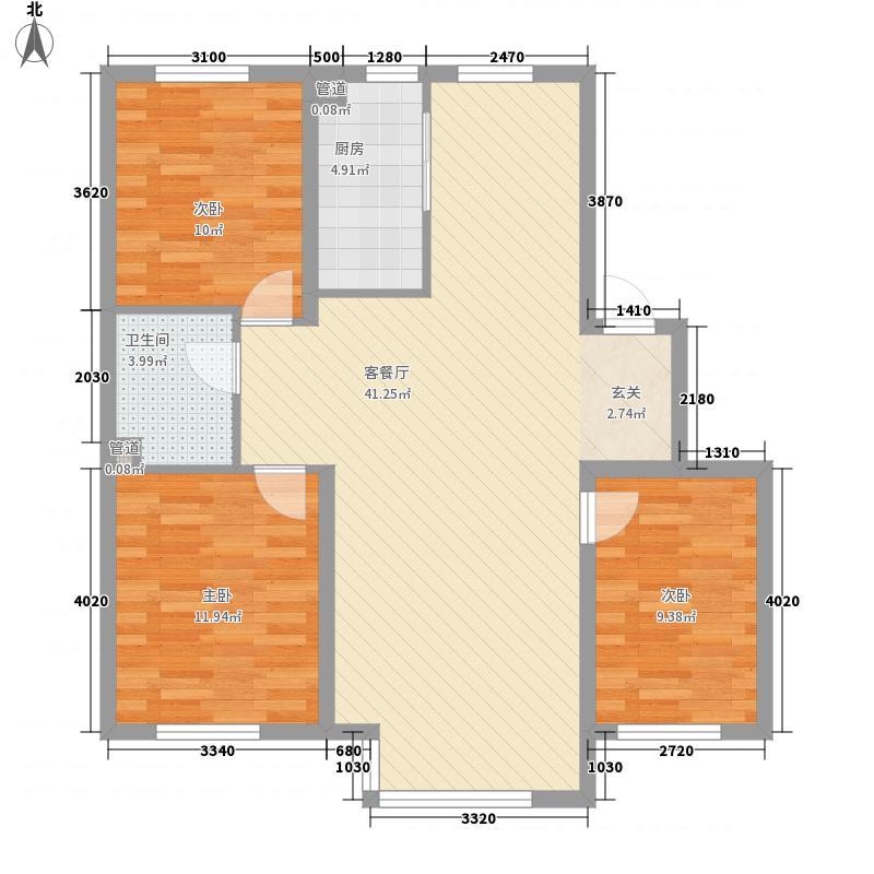 世百居・洪湖湾14.66㎡H户型3室2厅1卫1厨