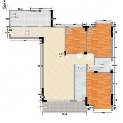 盛京金碧苑3室1厅2卫1厨152.00㎡户型图