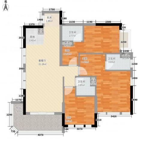 碧桂园金海湾3室1厅3卫0厨86.51㎡户型图