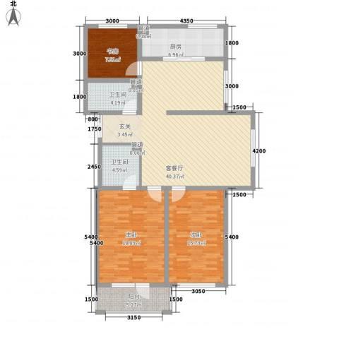 水岸花都3室1厅2卫1厨148.00㎡户型图