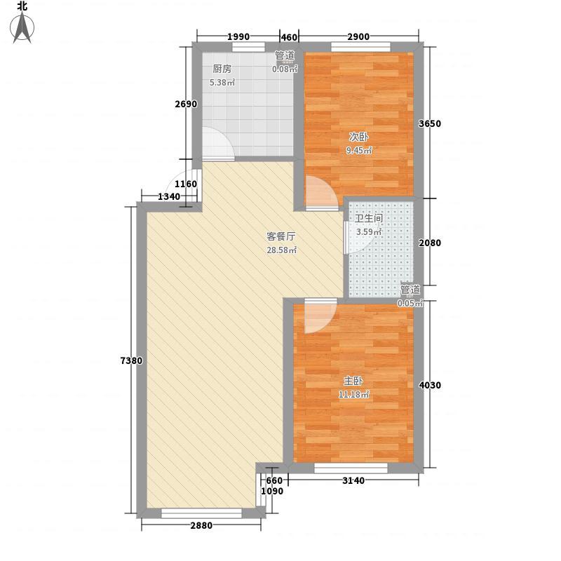 世百居・洪湖湾77.30㎡A1户型2室2厅1卫1厨