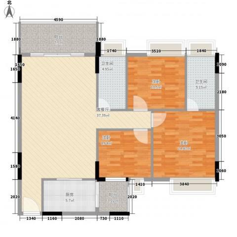 忠信春满园3室1厅2卫1厨97.43㎡户型图
