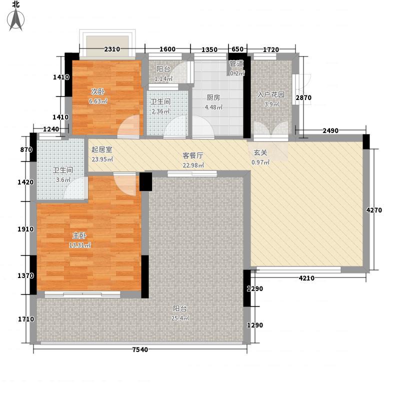 慧港国际02单位奇数层户型2室2厅2卫1厨