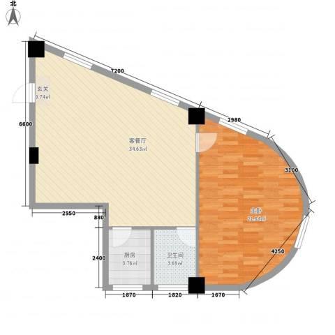 王家湾功臣楼1室1厅1卫1厨64.11㎡户型图