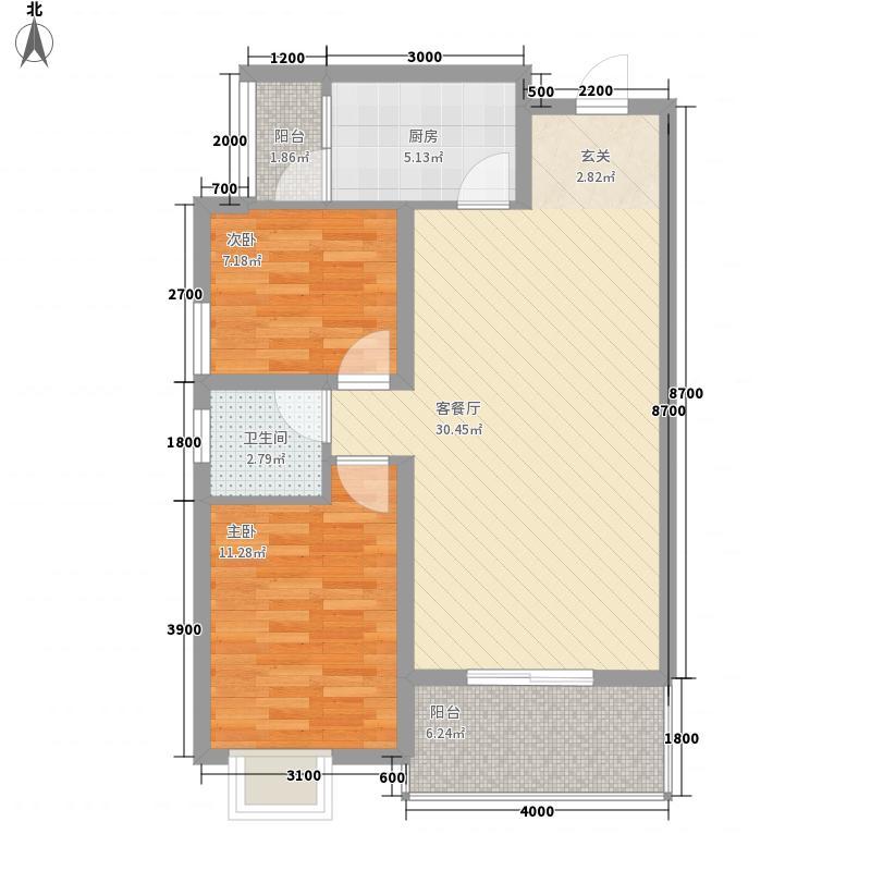 格力花园74.00㎡户型2室