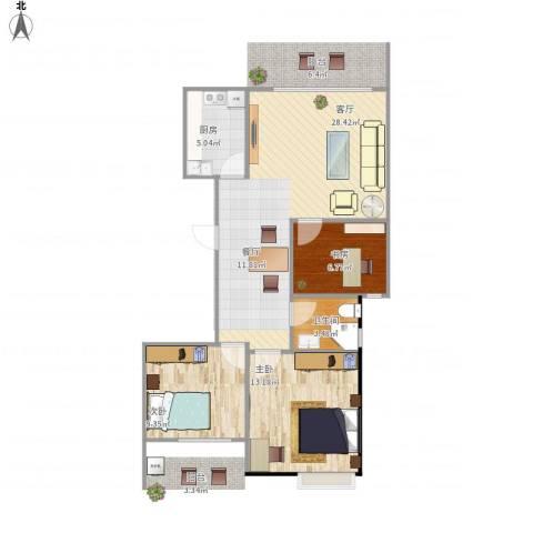 正和城3室1厅1卫1厨89.00㎡户型图