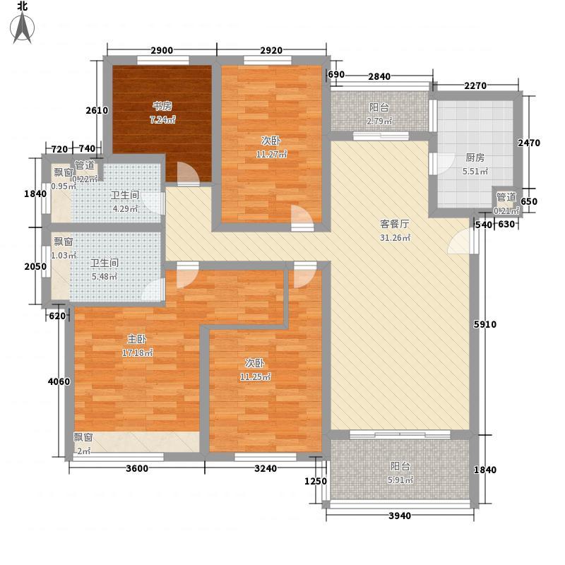 中海国际社区橙郡149.00㎡中海国际社区橙郡户型图28#标准层边户D2户型4室2厅2卫1厨户型4室2厅2卫1厨