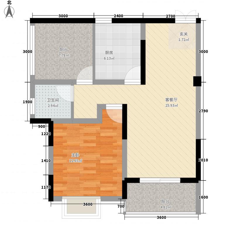 爱丁堡74.75㎡F型户型1室1厅1卫1厨
