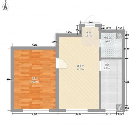 嘉宝华庭 嘉华园1室1厅1卫1厨60.00㎡户型图