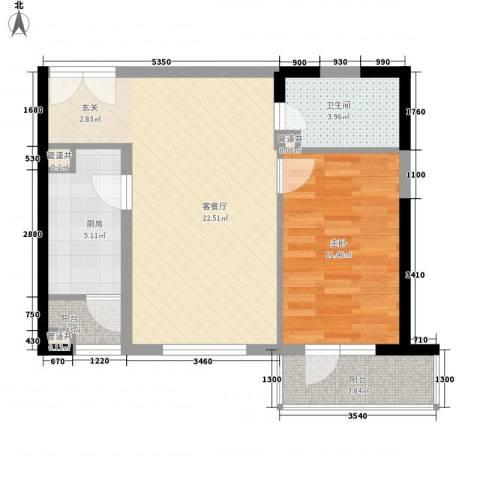 怡水豪庭海怡大厦1室1厅1卫1厨70.00㎡户型图