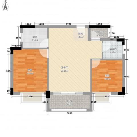 诚丰逸翠园2室1厅1卫1厨79.00㎡户型图