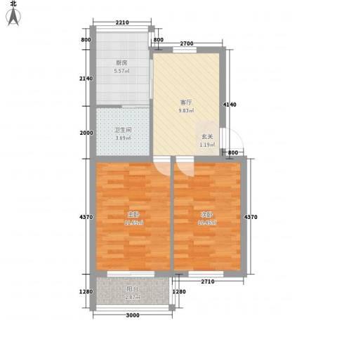 芳洲园2室1厅1卫1厨64.00㎡户型图