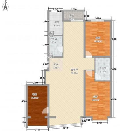 里人居一期3室1厅2卫1厨105.45㎡户型图