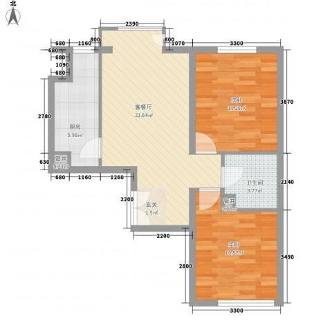 东方威尼斯2室1厅1卫1厨77.00㎡户型图