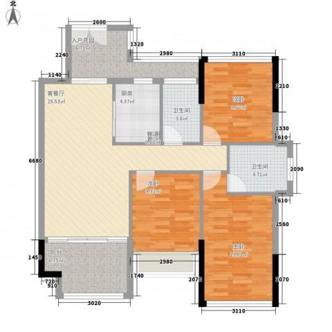 金沙美地3室1厅2卫1厨84.91㎡户型图