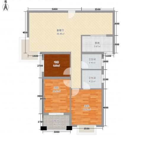 未来海岸蓝月湾3室1厅2卫1厨115.00㎡户型图