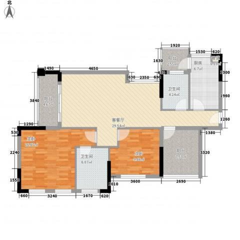 宏晴轩2室1厅2卫1厨125.00㎡户型图