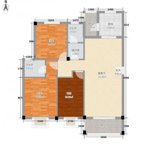 花前树下二期3室1厅2卫1厨126.00㎡户型图