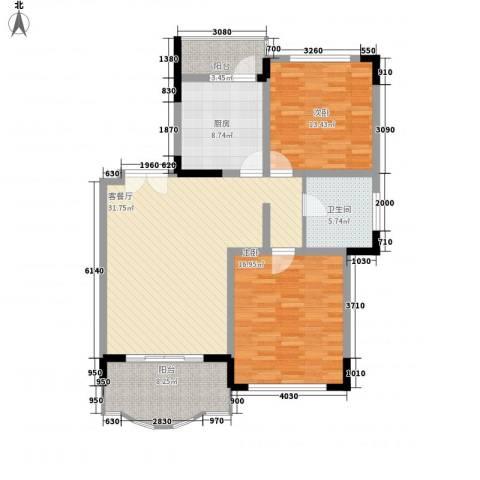 豪馨家园2室1厅1卫1厨125.00㎡户型图