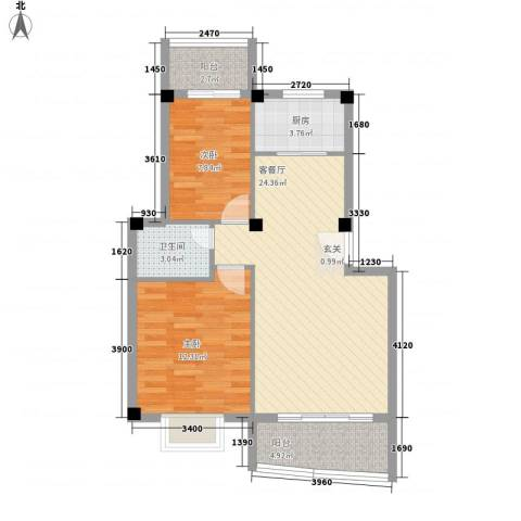 集美大学湾2室1厅1卫1厨84.00㎡户型图