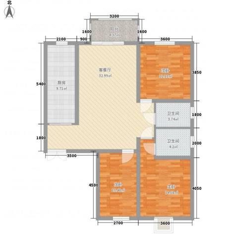 滨河城・左岸3室1厅2卫1厨104.03㎡户型图