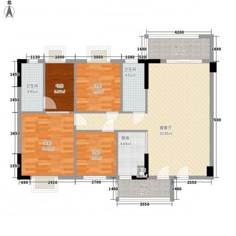 银丰花园4室1厅2卫1厨131.00㎡户型图