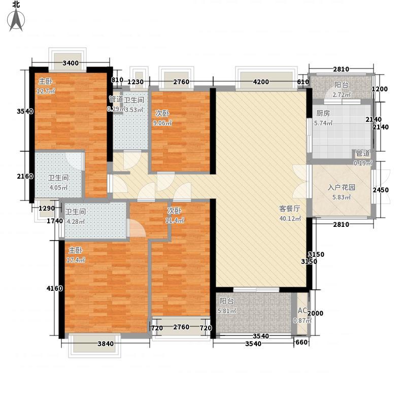 金阳新世界花园15.10㎡珑�五期R户型4室2厅3卫1厨