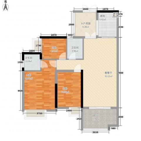金阳新世界花园3室1厅2卫1厨119.00㎡户型图