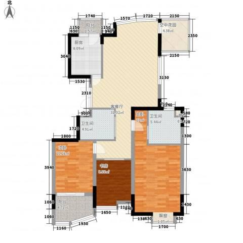 蝶庄3室1厅2卫1厨137.00㎡户型图