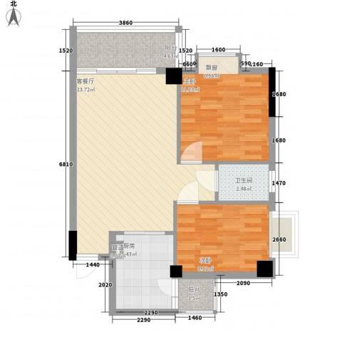 西堤国际花园2室1厅1卫1厨71.00㎡户型图