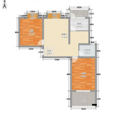 东方・海逸豪园2室1厅1卫1厨72.40㎡户型图