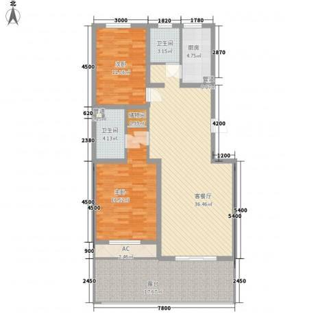 金玉良园2室1厅2卫1厨138.00㎡户型图