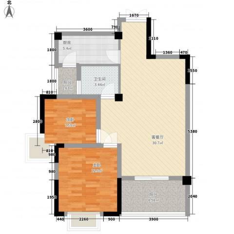 银领时代2室1厅1卫1厨90.00㎡户型图