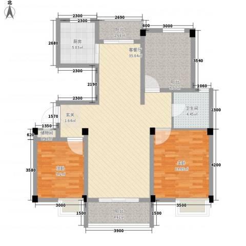 集美大学湾2室1厅1卫1厨83.61㎡户型图
