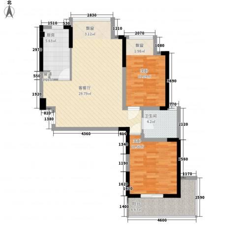 银领时代2室1厅1卫1厨99.00㎡户型图