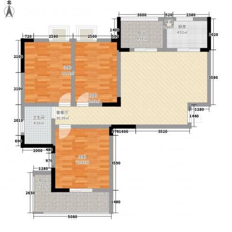 银领时代3室1厅1卫1厨114.00㎡户型图
